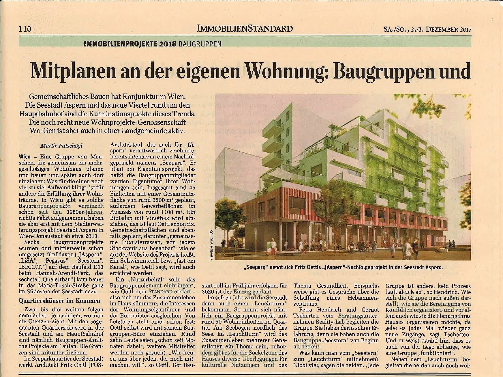 """""""Mitplanen an der eigenen Wohnung"""" – Standard Immobilien Printausgabe 2./3. Dez 17"""