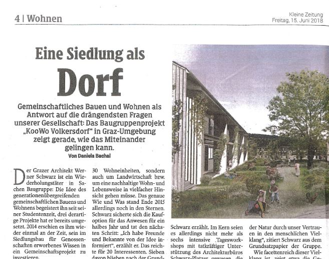 KooWo Volkersdorf in der Kleinen Zeitung am 15. Juni 18