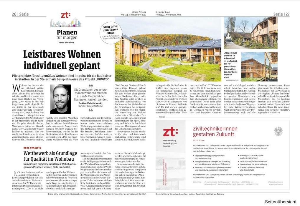 Leistbares Wohen individuell geplant (Kleine Zeitung am 27.11.2020)